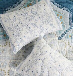 Anthropologie Sham King Paravel Quilted Blue White Floral 1 Sham NEW