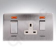 Crabtree Platinum 45A DP Cooker Control Unit Neon Satin Chrome White 7521/3SC/WH