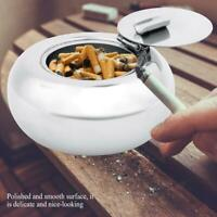 Round Drum Stainless Steel Cigarette Ashtray Office With Windproof Lid Cover NEW