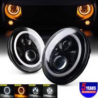 """E-mark LED 7"""" headlight for Land Rover DEFENDER 90 110 130 TDCI TD5 angel eye"""