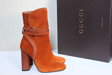 New sz 7 / 37 Gucci Abigail Orange Suede Leather Buckle Block Heel Bootie Shoes