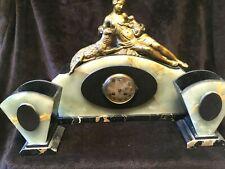Grande Art Deco francés de mármol y bronce Garniture Mantel Clock