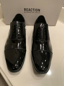 NWT MSRP $120 REACTION KENNETH COLE EDDY BLACK PATENT SLIP ONS SIZE 11.5M