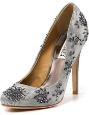 NIB Badgley Mischka SANOMA Embellished Lace mesh pumps heels shoes Gray 7