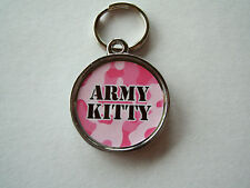 Army Kitty Camouflage Pink Pet Id Tags Collar Cat Tag
