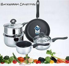 INDUCTION SAUCEPAN NON STICK / FRYING PAN CASSEROLE STAINLESS STEEL COOKWARE SET