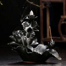 "Ceramic Backflow Incense Holder Combination Burner ""Lotus Stream"" Free Cones"
