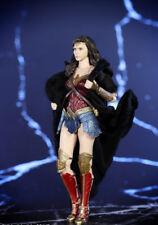 """1:12 Black Bandai SHF Wonder Woman Cape Cloak Robe For 6"""" Female Body Doll Toy"""