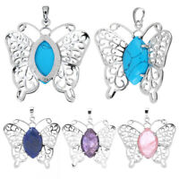 Natural Quartz Crystal Butterfly Necklaces Pendant Gift Jewelry Charm Acces