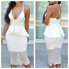 NEW Sexy White mesh Skirt Peplum Boutique Dress SIze 10-12