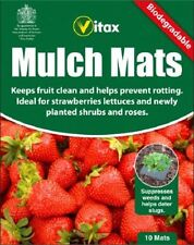 10 x VITAX BIODEGRADABLE MULCH MATS SHRUBS STRAWBERRY LETTUCE PLANTS