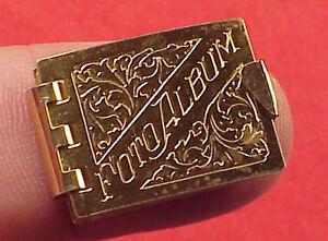 Minature Rare Charm 1in Gold Opens for 6 Photo Memory Book Album Pendant 1950s