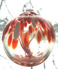 """Hanging Glass Ball 3"""" Diameter Red & White Tree Witch Ball (1) HB1"""