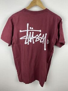 Vintage Stussy Mens T Shirt Size M Crew Neck Relaxed Fit Maroon Adult