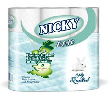 9 ROLLS NICKY ELITE 3 PLY LUXURY SOFT QUILTED TOILET ROLLS TISSUE TOILET PAPER