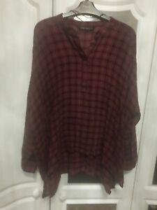 Zara Woman Oversized Shirt Size M, Red Tartan Loose Fitting, dipped hem