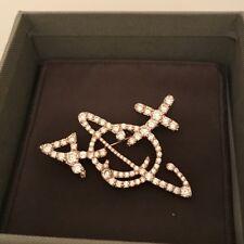 Vivienne Westwood Unisex Orb Broche Oxydé Blanc Cubique/Or Rose