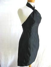 Size 6 JAYSON BRUNSDON black silk halter neck cocktail designer dress