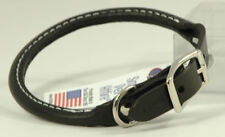"Auburn Leather - Rolled Round Dog Collar - 20""-22"" - Black"