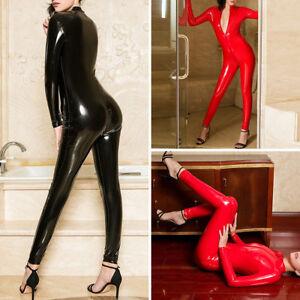 Ladies PVC Leather Wetlook Catsuit 2-Way Zipper Shiny Bodysuit Jumpsuit Clubwear