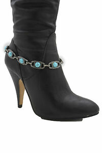 Women Rodeo Boot Bracelet Silver Metal Chain Turquoise Beads Anklet Shoe Charms