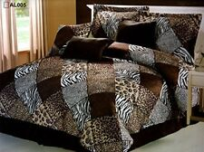 Brown Beige Black White Multi Animal Print Twin Comforter Set Bed in a Bag