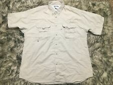 Men's COLUMBIA PFG  Sz XL Beige Short Sleeved Fishing Button Front Shirt