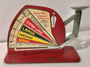 Colorful Vintage Jiffy Way Metal Farmhouse Egg Weighing & Sizing Scale