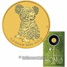 Australia 2015 Mini Koala Bear $2 0.5 Gram .9999 Pure Gold Reverse Proof in Card