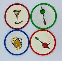 Vintage MCM Silicone Coasters Bar Retro Martini Olive Set 4 Rubber