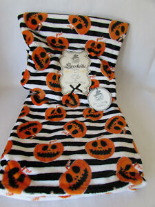 Spookville Halloween Orange Throw Blanket Striped Scary Pumpkins Jack O Lanterns