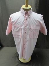 Rugged Earth Mens Size M Pink On Down Front Fishing Shirt Vented Ss