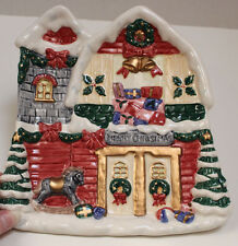 New Fitz and Floyd Ceramic Christmas House Shallow Dish Snack Tray