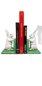 Pair two Quality White Rabbit Cast Iron Bookends Book Shelf Home Office DoorStop