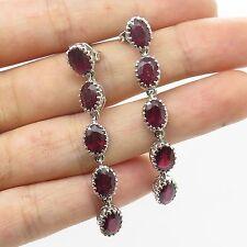 925 Sterling Silver Real Ruby Gemstone Long Dangling Earrings
