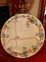"Antique Carrollton China Serving Platter Multicolored Floral Divided 12"" USA"