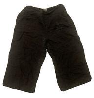 Habitat Black Linen Pull On Elastic Waist Back Pants S Lagenlook Cropped Wideleg