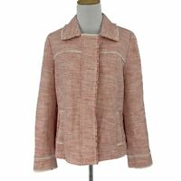 J. Jill Tweed Blazer Women's Size M Hidden Full Zip Button Career Jacket Lined