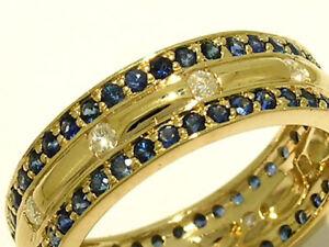R222 Genuine 9ct Gold Full Eternity NATURAL Diamond & Sapphire Ring Large size V