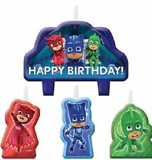 PJ MASKS CANDLE SET 4pcs ~ Happy Birthday Party Supplies Cake topper
