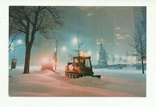 SNOW REMOVAL ON DOMINION SQUARE, MONTREAL QUEBEC, CANADA CHROME POSTCARD