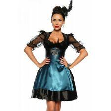 Dirndl 4-teilig Rock mit Schürze Corsage mit Schnürung Petticoat schwarz türkis