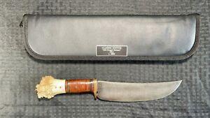 Bill Scagel Style Damascus Steel Skinner Knife Lot#SP5 Horn Handle