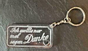 Schlüssel Anhänger aus Acrylglas - personalisierter Schlüsselanhänger - DANKE