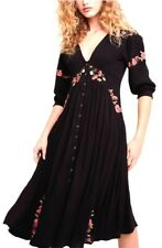 """Free People """"DAY GLOW"""" Midi embroidered dress Black New with tag Large"""