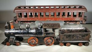 1890s Wilkins Cast Iron Floor Train w/ Locomotive, Tender & Passenger Car - 26""