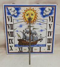 Ancien cadran solaire en céramique signé Furio Vintage Décoration Collection...