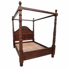 Solid Mahogany Wood Bedroom 4 Poster Bed Bedside Dressing Table King Size Set
