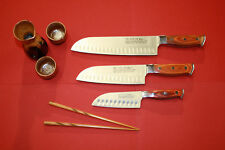 PRO LINE Sushi Knife Set w- Red Wood Handles. 3 Knives
