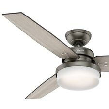 """Hunter Fan 52"""" Contemporary LED Ceiling Fan in Brushed Slate with Light, 3-Blade"""
